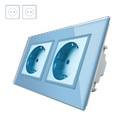 Enchufe Socket doble EU 16A, frontal azul